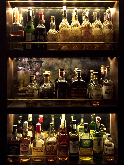 Selection of bottles at the Mandarin Oriental Bangkok's Bamboo Bar