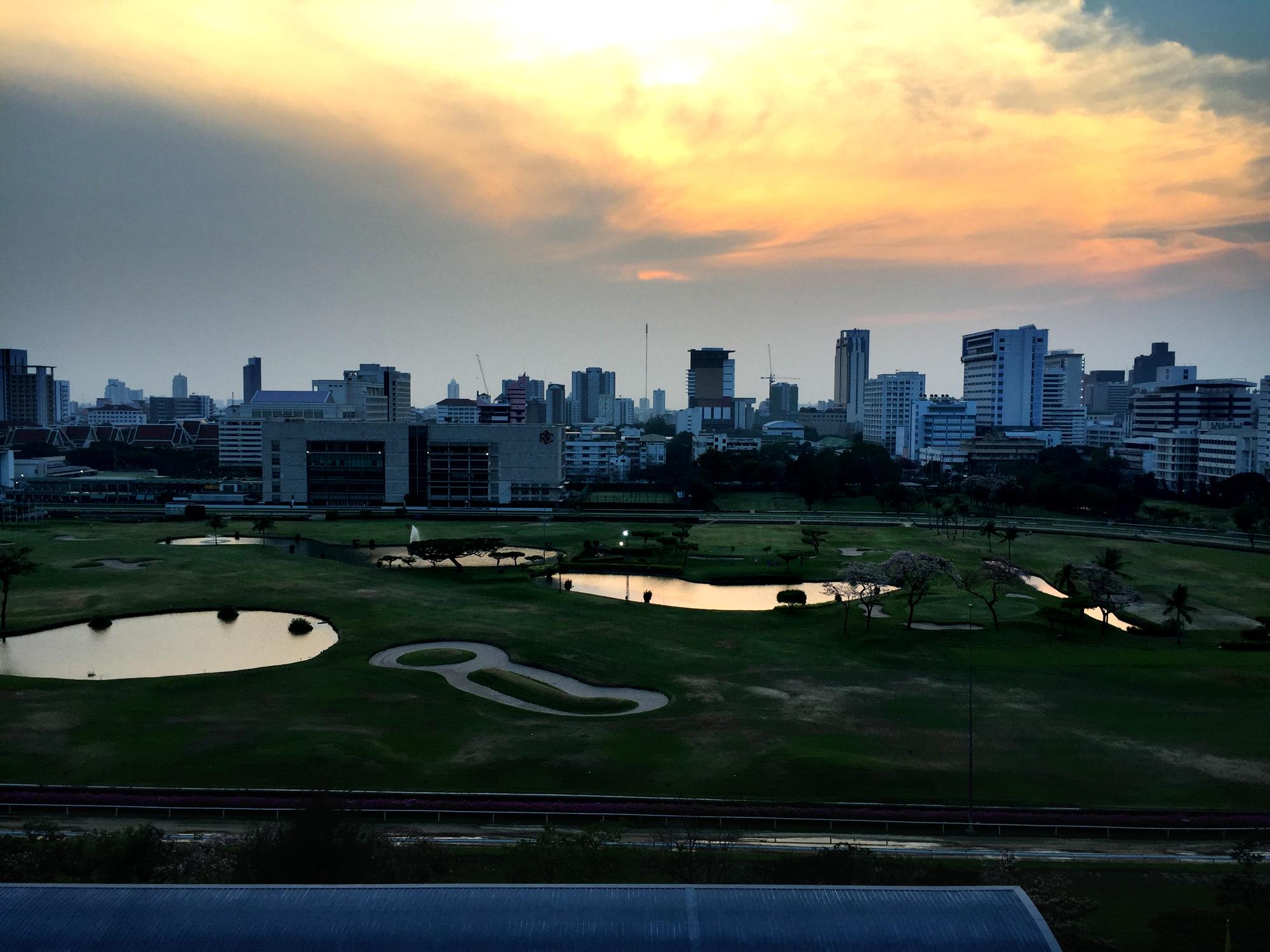 Sunset view of the Bangkok royal sports club from st regis Bangkok