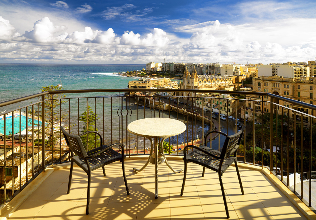 The view from Le Meridian Malta overlooking Balluta Bay