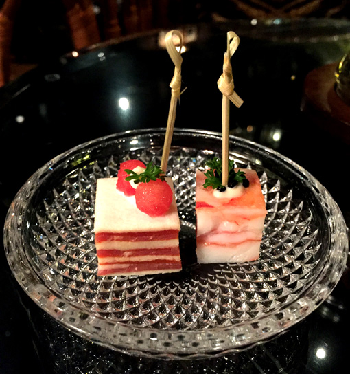 Snacks served at the Bamboo Bar Mandarin Oriental Bangkok