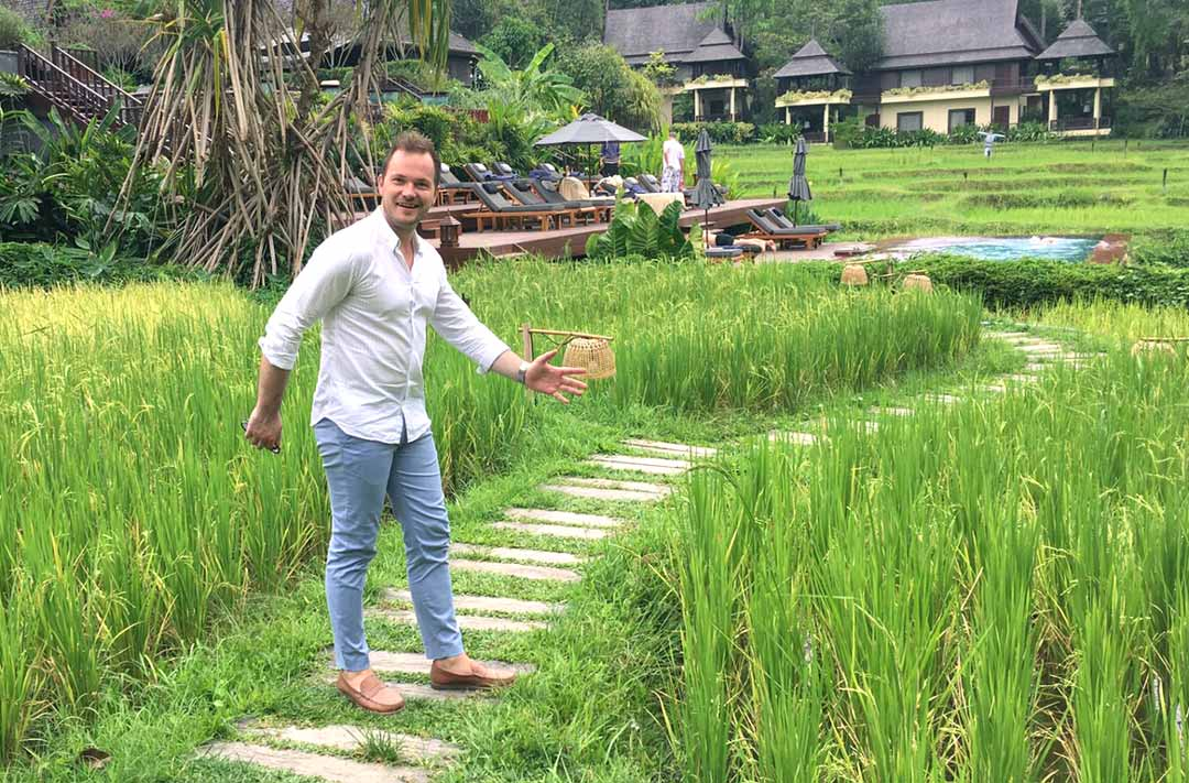 posing in the rice paddies at Four Seasons Chiang Mai
