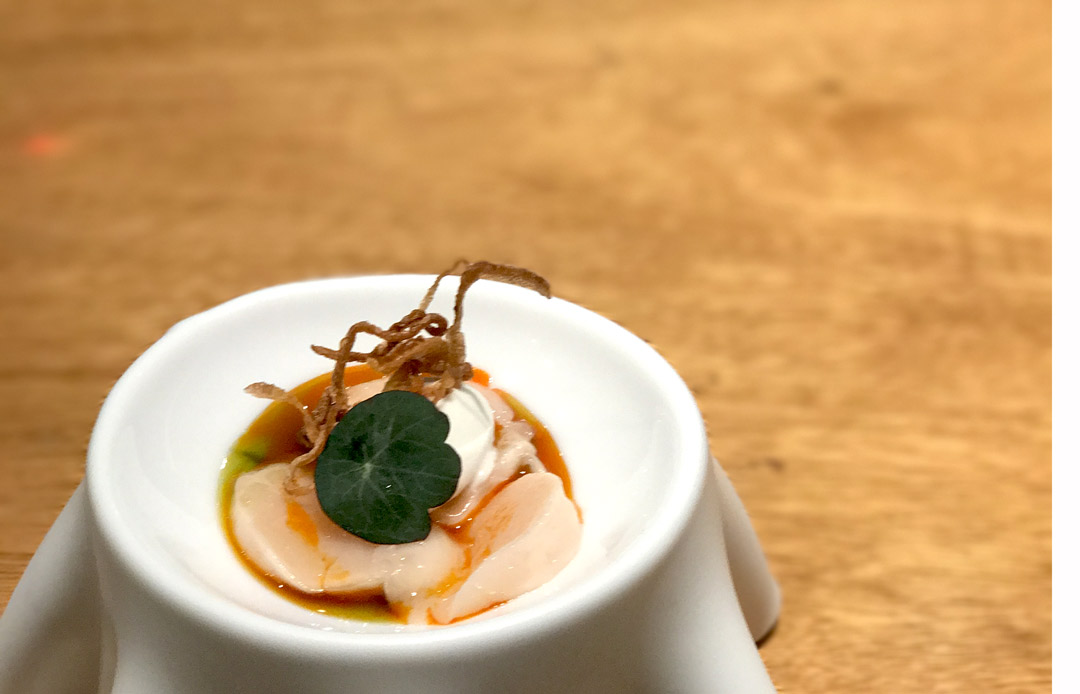 Raw scallop, curry oil and coconut ice cream - a raw curry